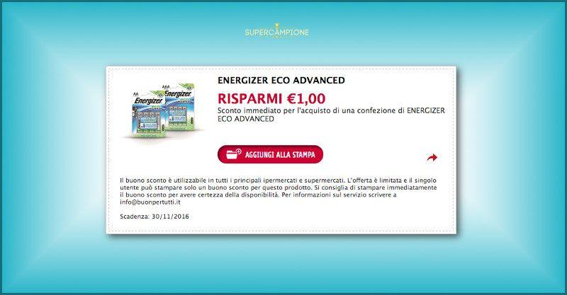 Buono sconto Energizer 1€