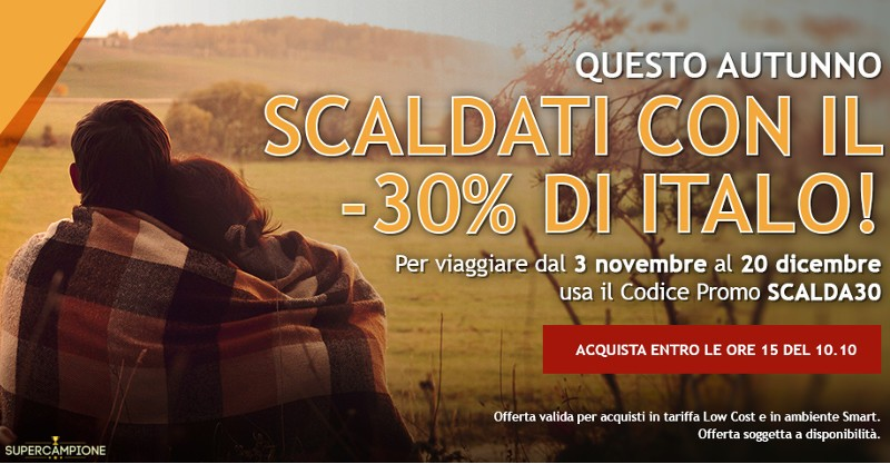 Codice sconto del 30% su Italo