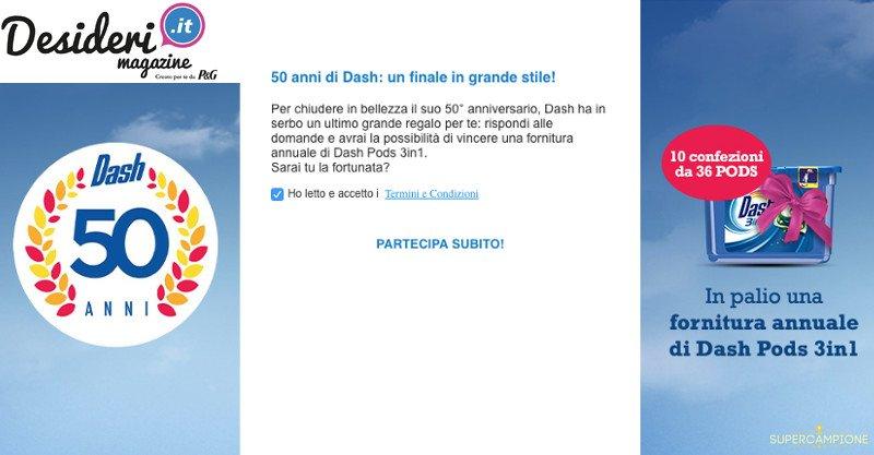 Vinci gratis una fornitura annuale di Dash Pods