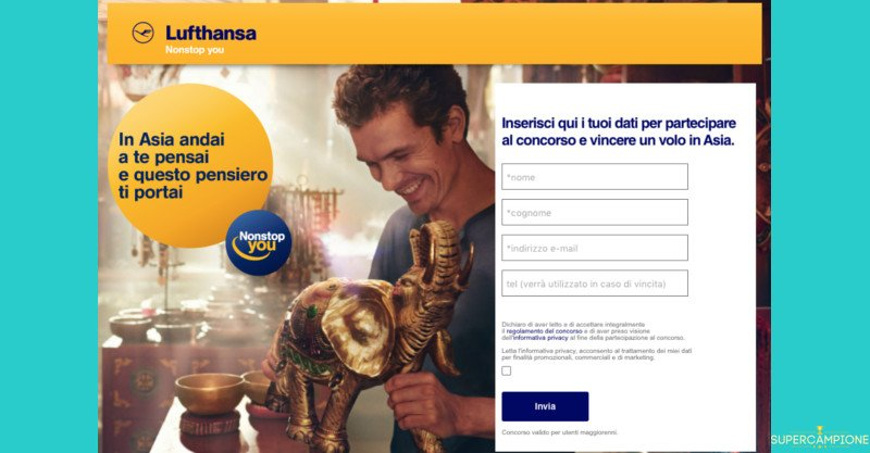 Concorso Lufthansa: vinci volo per due in Asia