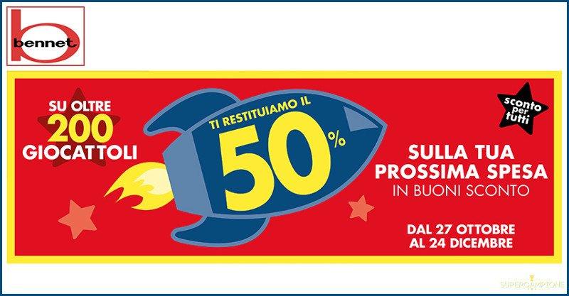 Bennet: spendi e riprendi giocattoli 50%
