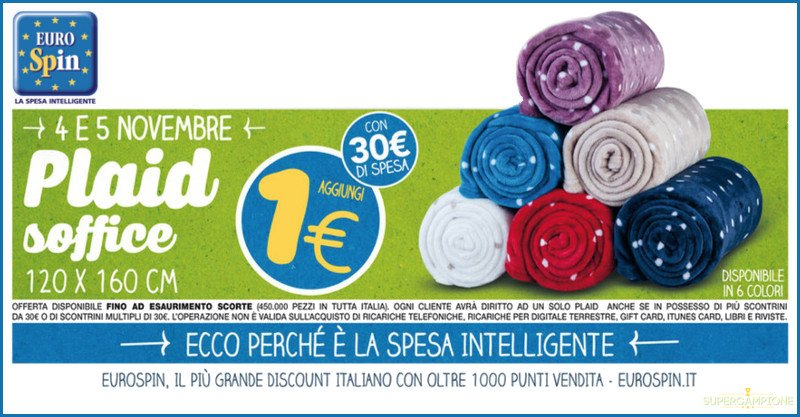 Eurospin: plaid a 1€