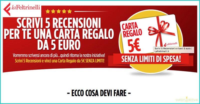 La Feltrinelli: carta regalo da 5€ gratis senza obbligo di acquisto