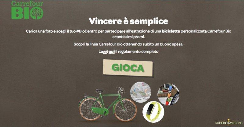 Carrefour: vinci gratis bicicletta, carica batteria, porta piantine o braccialetto fitness