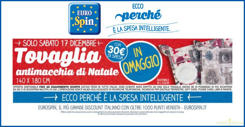 Supercampione - Eurospin ti regala una tovaglia natalizia antimacchia