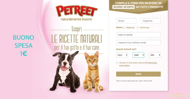 Buoni spesa Petreet cani e gatti