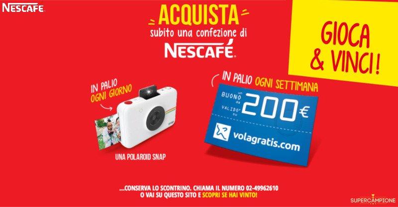 Nescafé: vinci Polaroid SNAP o buoni sconto Volagratis