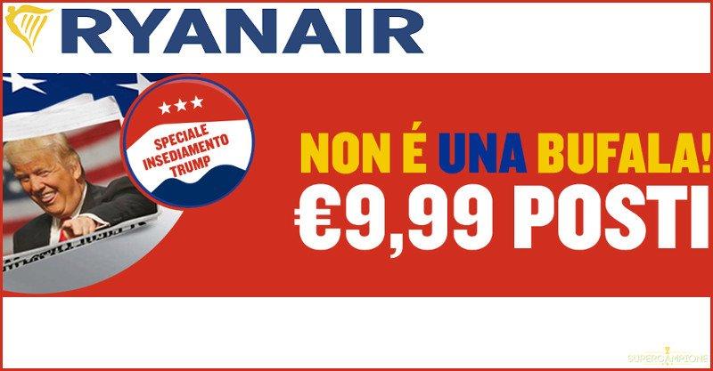 Supercampione - Offerta Ryanair: biglietti da 9,99€