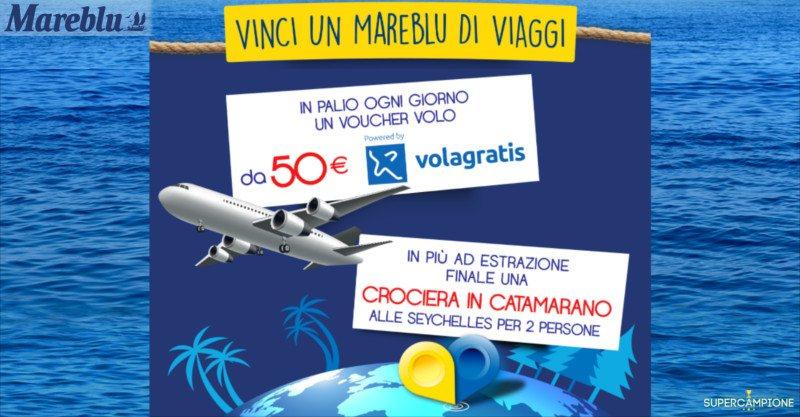 Supercampione - Mareblu: vinci voucher voli e Seychelles in catamarano