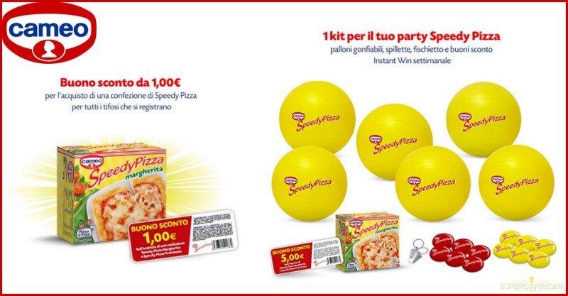Ricevi un buono sconto e vinci gratis kit per party Speedy Pizza