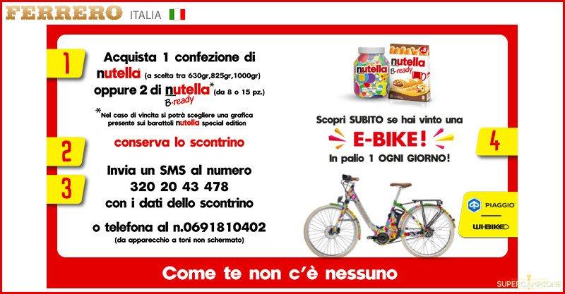 Nutella: vinci una bicicletta elettrica al giorno