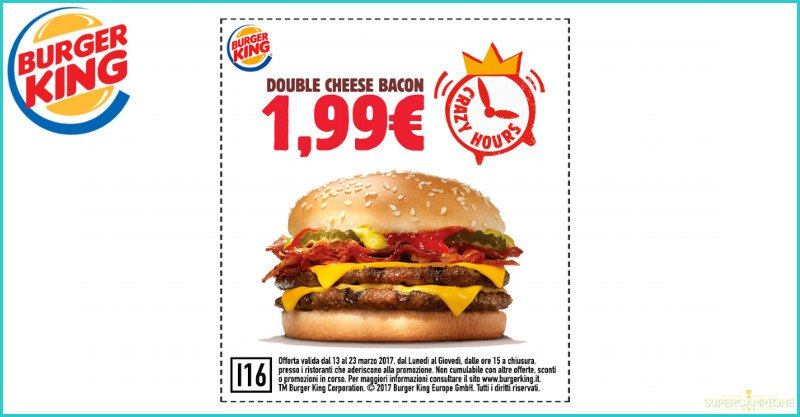 Buoni sconto Burger King Double Cheese Bacon