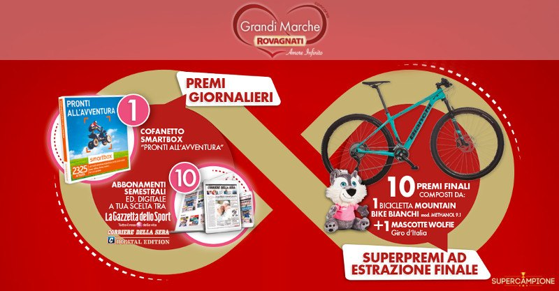 Rovagnati: vinci Smartbox, mountain bike o mascotte Wolfie