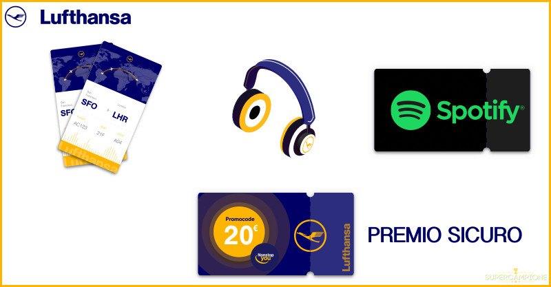 Supercampione - Vinci gratis voli Lufthansa, cuffie Bose e Spotify