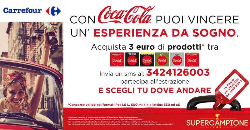 Supercampione - Coca Cola e Carrefour: vinci voucher viaggio da 3.500€