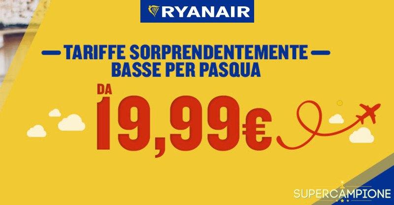 Ryanair: offerta voli da 19,99€