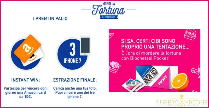 Supercampione - Vinci gratis Iphone 7 e buoni Amazon
