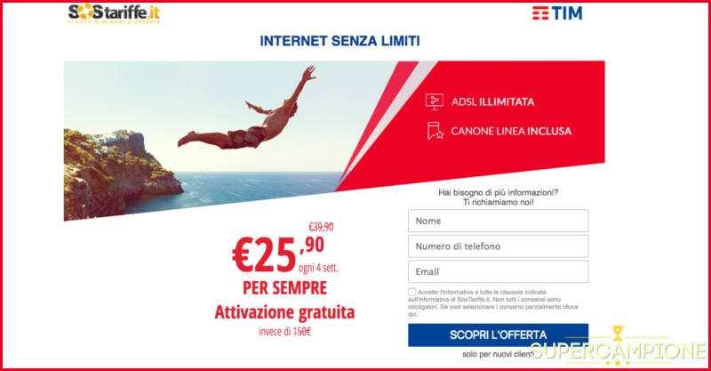 TIM: Internet Senza Limiti a 25,90€ per sempre
