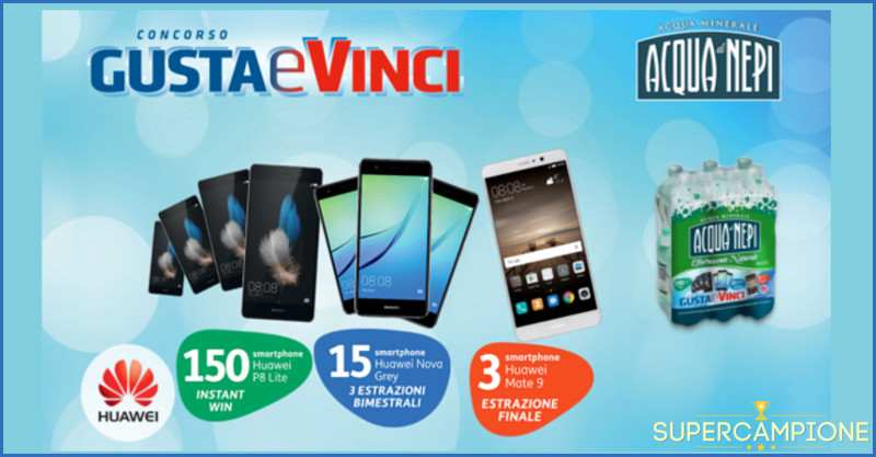 Vinci Huawei con acqua di Nepi