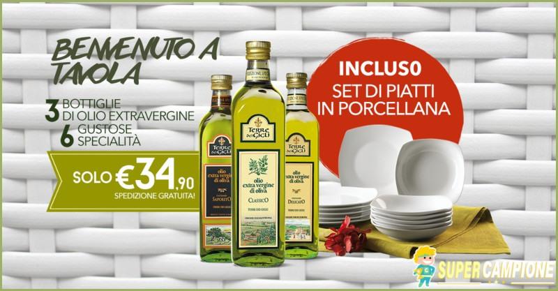 Supercampione - Terre dei Gigli: Olio + specialità italiane + set di piatti