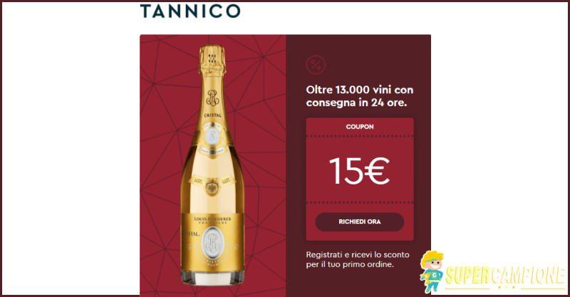 Supercampione - Tannico: buono sconto di 15€ su tutti i vini