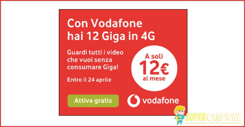 Supercampione - Vodafone: promo internet 4G e video gratis
