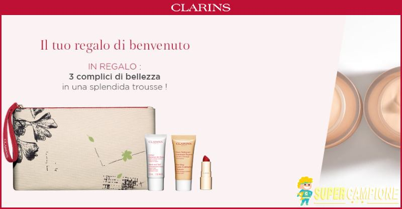 Supercampione - Clarins: ricevi gratis 3 cosmetici e una trousse