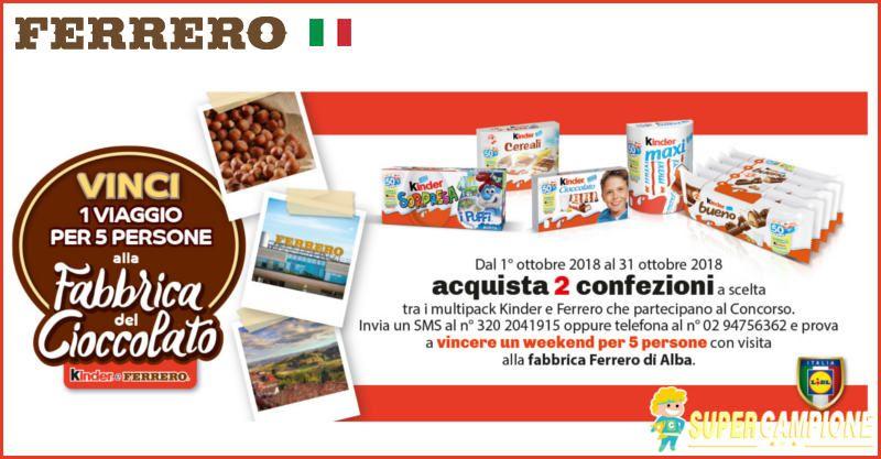 Supercampione - Vinci gratis un viaggio alla Fabbrica del Cioccolato Ferrero