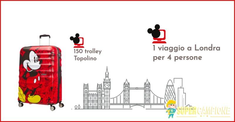 Vinci un viaggio a Londra o un trolley Topolino