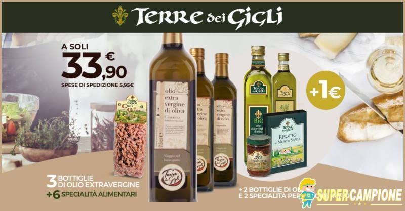 Terre dei Gigli: olio + specialità italiane + regalo a 1€