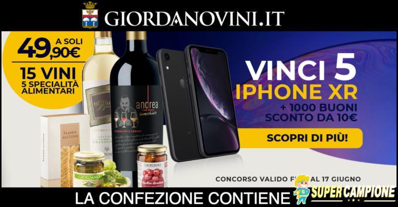 Supercampione - Giordano Vini: vinci iPhone XR e buoni sconto