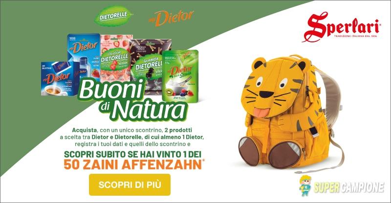 Vinci zaini gratis con Dietor e Dietorelli Buoni di Natura
