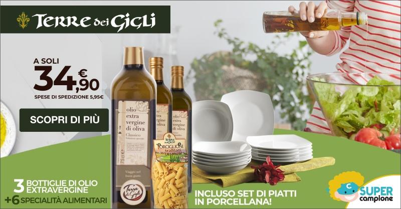 Terre dei Gigli: olio + specialità italiane e gratis set di piatti