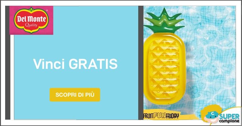 Vinci gratis un materassino gonfiabile a forma di ananas Del Monte
