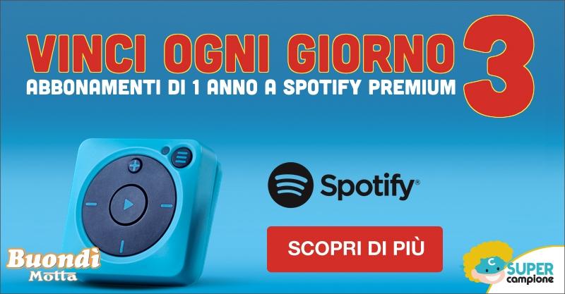 Vinci 1 anno di Spotify con Buondì Motta