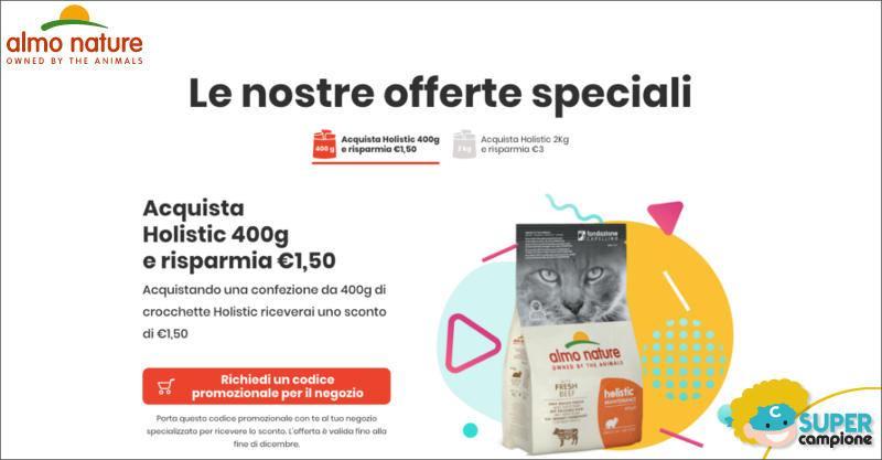 Buoni sconto Almo Nature Holistic gatto 1,50€