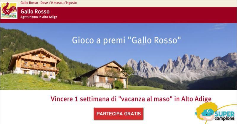 Vinci gratis una settimana in un maso Gallo Rosso in Alto Adige