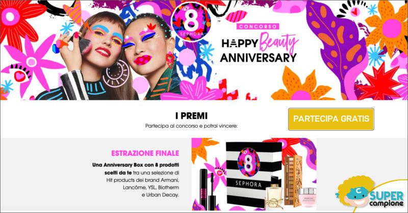 Sephora: vinci gratis Happy Beauty Anniversary Box da 500€