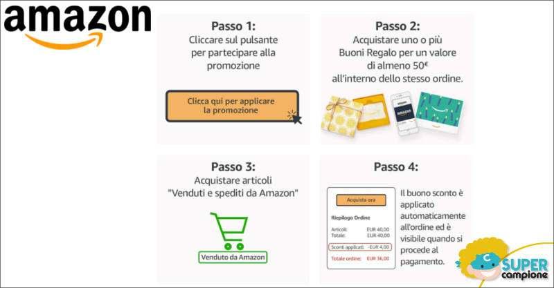 Amazon: ricevi buono sconto da 4€ con buono regalo da 50€