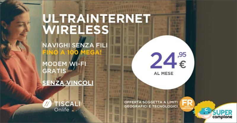 Tiscali: ultrainternet fibra e modem gratis a 25,95€