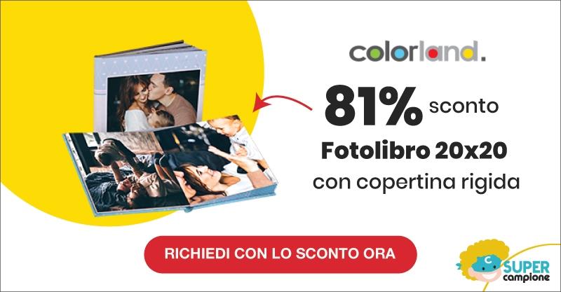 Offerta Colorland: -81% su Fotolibro 20x20 personalizzato da 160 pagine