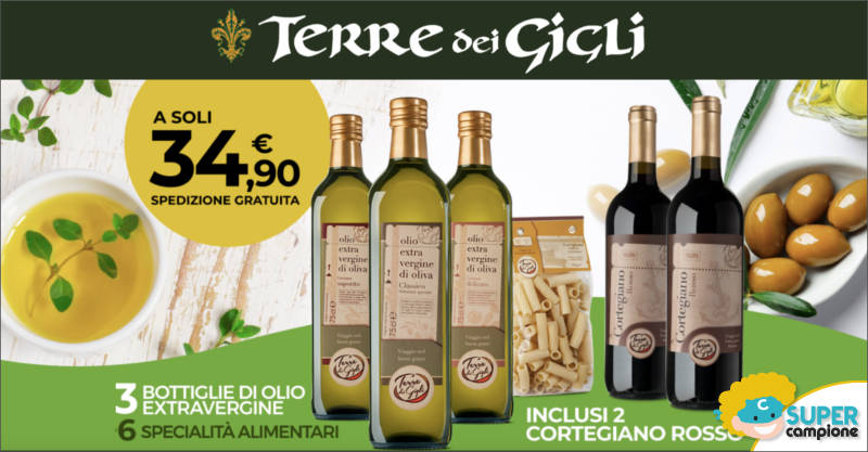 Offerta speciale Terre dei Gigli: olio + specialità italiane + vini