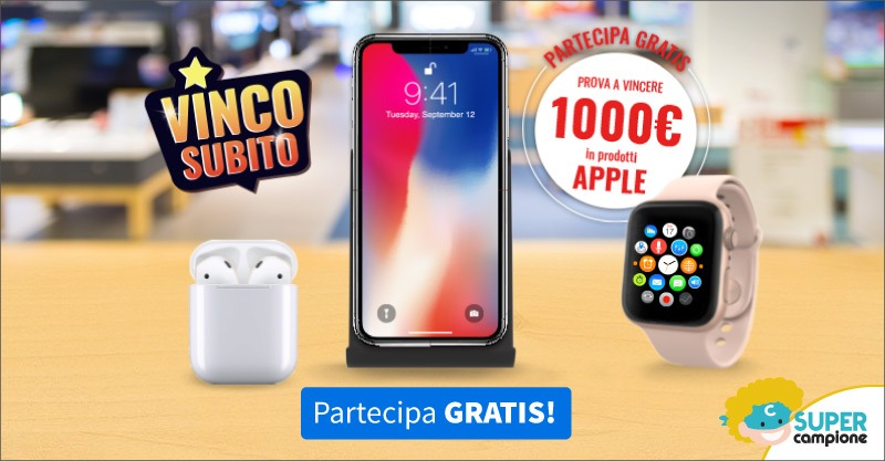 Vinci 1000€ di buoni Apple