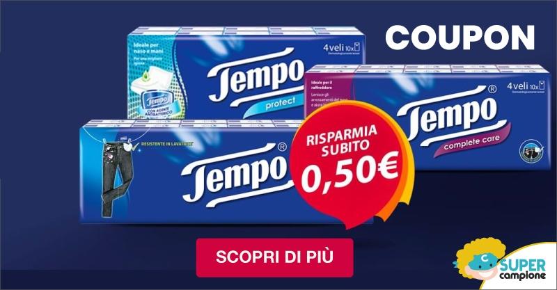Gratis Buono sconto di €0,50 fazzoletti Tempo