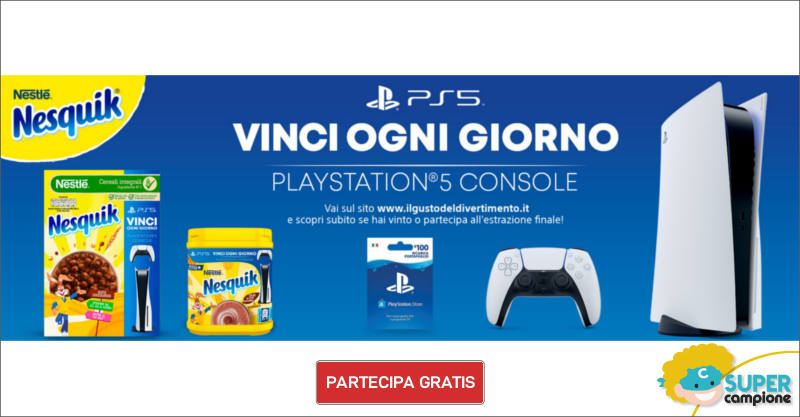 Nesquik: vinci Playstation 5 + Playstation Store Card ogni giorno