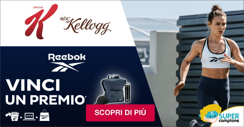 Vinci kit allenamento Reebok con Kellogg